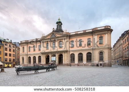 Stockholm, Sweden - Oct 7, 2016: The Swedish Academy at Old Town in stockholm, an institution for the Swedish language and literature. Also responsible for assigning the Nobel Prize in Literature.
