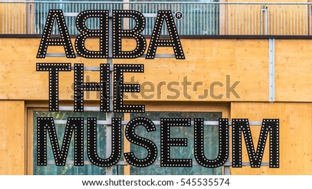 Stockholm, Sweden - October 28, 2016: ABBA the Museum sign at entrance