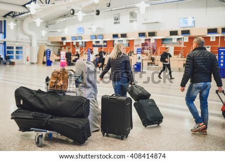 STOCKHOLM, SWEDEN - OCTOBER 13, 2015: Interior of Skavsta airport near Stockholm. Skavsta is a hub of low cost airlines. - stock photo
