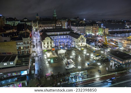 Stockholm, Sweden - October 31: Night view of the capital city of Stockholm, Sweden on October 31, 2014. - stock photo