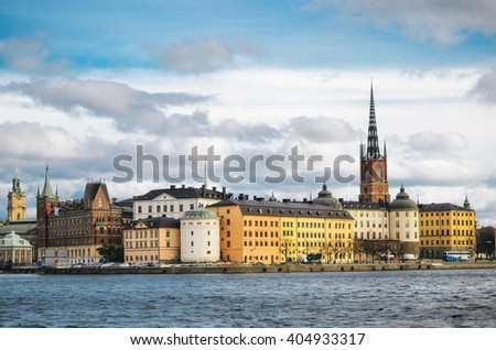 STOCKHOLM, SWEDEN - OCTOBER 23, 2014: Panoramic view of the Old Town of Stockholm. Birger Jarls tower view.