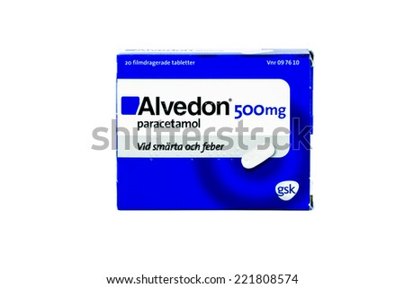 STOCKHOLM, SWEDEN - OCTOBER 3: Paracetamol based medication Alvedon on October 3, 2014. Paracetamol is Sweden's most sold pain killer and sales are increasing rapidly year on year.