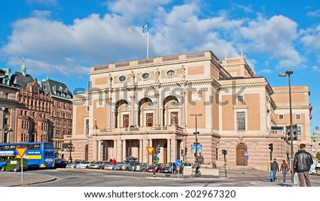 STOCKHOLM, SWEDEN - OCTOBER 2, 2010:The Royal Swedish Opera (Kungliga Operan), located on the Gustav Adolfs torg across from the Ministry for Foreign Affairs, on October 2 in Stockholm.