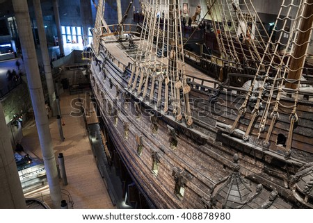 STOCKHOLM, SWEDEN - OCTOBER 12, 2015: The Vasa Museum in Stockholm, displays the Vasa ship, fully recovered 17th century. Famous ancient viking warship Vasa vessel