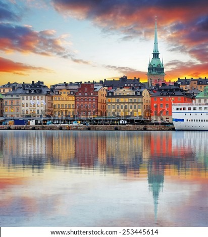 Stockholm, Sweden - panorama of the Old Town, Gamla Stan - stock photo