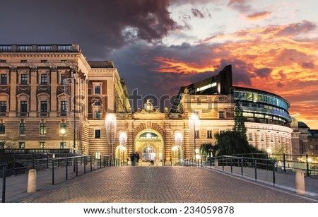 Stockholm, Sweden. Riksdag (parliament) building. - stock photo