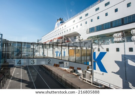 STOCKHOLM, SWEDEN - SEP 7, 2014: Cruiseferry of the Estonian company Tallink. It is one of the largest passenger and cargo shipping companies in the Baltic Sea region - stock photo