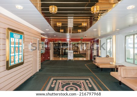 STOCKHOLM, SWEDEN - SEP 7, 2014: Interior of Cruiseferry of the Estonian company Tallink. It is one of the largest passenger and cargo shipping companies in the Baltic Sea region