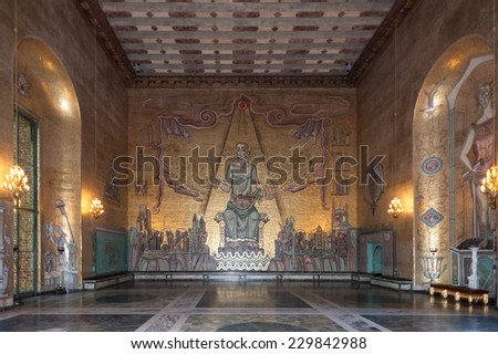 STOCKHOLM, SWEDEN - SEP 7, 2014: Part of the Stockholm City Hall, Sweden. It is the venue of the Nobel Prize banquet and one of Stockholm's major tourist attractions.