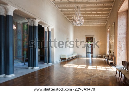 STOCKHOLM, SWEDEN - SEP 7, 2014: Part of the Stockholm City Hall, Sweden. It is the venue of the Nobel Prize banquet and one of Stockholm's major tourist attractions. - stock photo