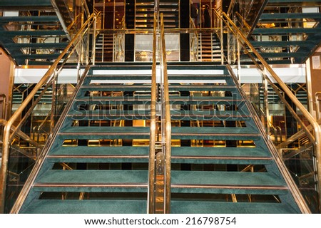 STOCKHOLM, SWEDEN - SEP 7, 2014: Stairs of te Cruiseferry of the Estonian company Tallink. It is one of the largest passenger and cargo shipping companies in the Baltic Sea region - stock photo