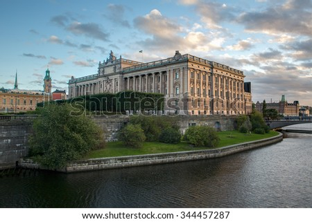 Stockholm, Sweden - Sep 18, 2015: Swedish Parliament building at evening, located on a small island called Helgeandsholmen in central Stockholm.