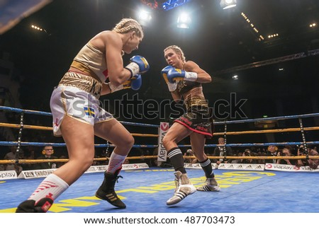 STOCKHOLM, SWEDEN - SEPT 10, 2016: WBC title match between Mikaela Lauren (SWE) vs Klara Svensson (SWE) in welterweight at The winner takes it all event in boxing. Winner Klara Svensson