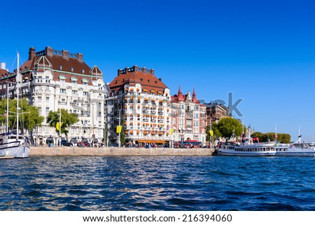 STOCKHOLM, SWEDEN - SEPTEMBER 7, 2014: Architecture in the centre of Stockholm, Sweden.Stockholm is the capital of Sweden and the most populous city in Scandinavia, and a popular touristic destination - stock photo