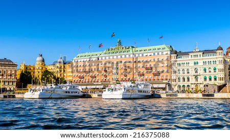 STOCKHOLM, SWEDEN - SEPTEMBER 7, 2014: Grand Hotel, a five-star hotel in Stockholm. Since 1901, the Nobel Prize laureates and their families have traditionally been guests at the hotel