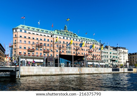 STOCKHOLM, SWEDEN - SEPTEMBER 7, 2014: Grand Hotel, a five-star hotel in Stockholm. Since 1901, the Nobel Prize laureates and their families have traditionally been guests at the hotel - stock photo