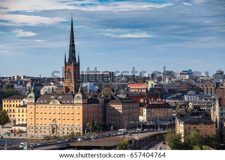 STOCKHOLM, SWEDEN - SEPTEMBER, 16, 2016: Skyline of old town, towers and buildings