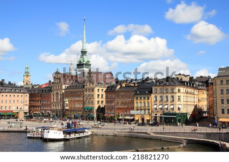 Stockholm, Sweden. View of famous Gamla Stan (the Old Town). - stock photo