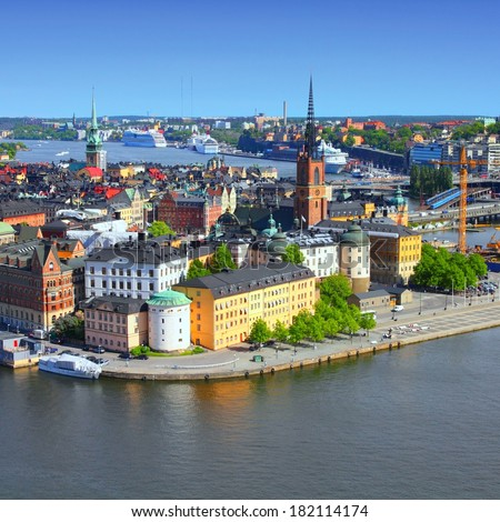Stockholm, Sweden. View of famous Gamla Stan (the Old Town), Stadsholmen island. Square composition.