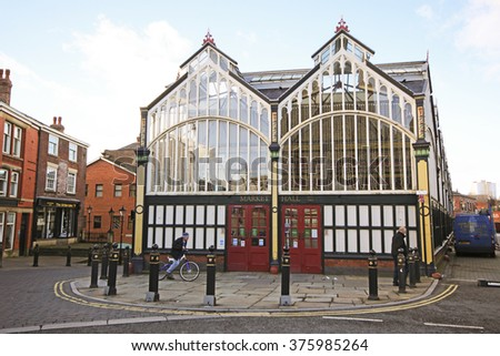 STOCKPORT, UK - FEBRUARY, 10 2016: Market Hall. Stockport is a large town in Greater Manchester and was also at the centre of the country's hatting industry in the 19th century - stock photo