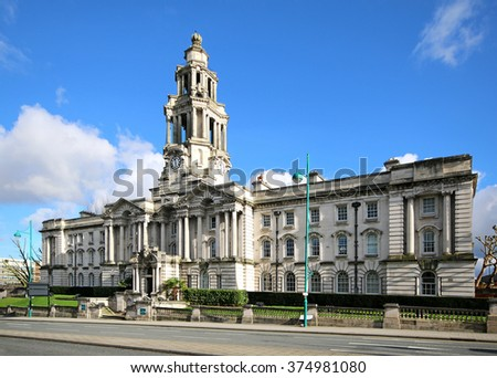 STOCKPORT, UK - FEBRUARY 10, 2016: Stockport Town Hall houses government and administrative functions and was designed by architect Sir Alfred Brumwell Thomas. - stock photo