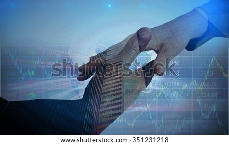 Stocks and shares against composite image of businesspeople going to shake hands - stock photo
