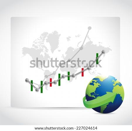 stocks business graphs. forex. illustration design over a white background - stock photo