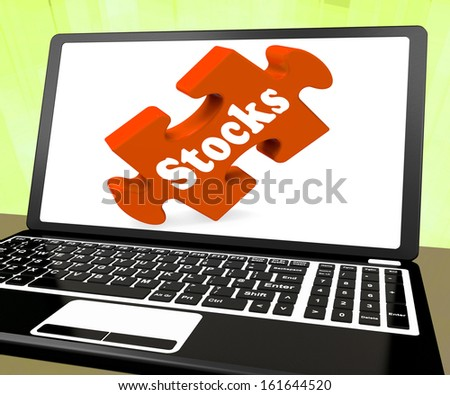 Stocks Laptop Showing Investors Shares Stock Market - stock photo