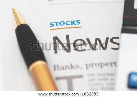 Stocks News, pen, calculator, banks, property headlines - stock photo