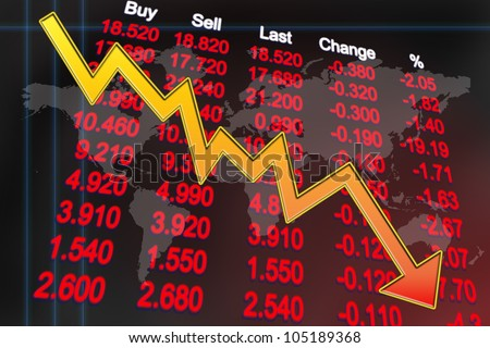 Stocks price in downtrend mode indicates global economy enter recession - stock photo