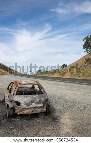 stolen abandoned and burned out car gisborne east coast north island