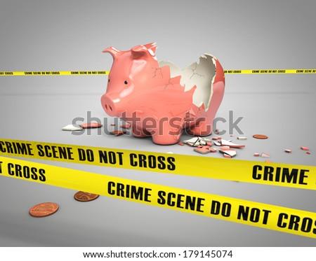 stolen savings from a broken piggy bank - stock photo
