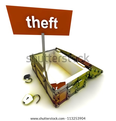 Stolen treasure from opened antique chest with text panel render illustration - stock photo