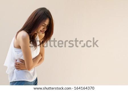 stomach ache, mild pain - stock photo