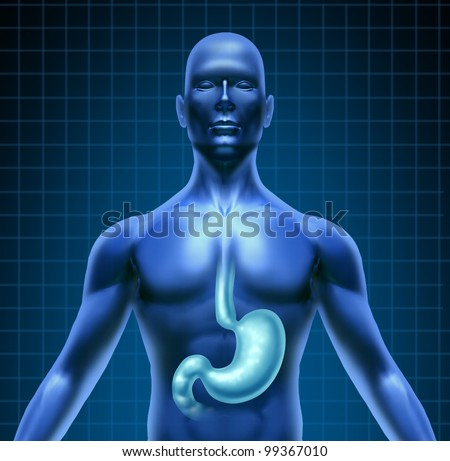 Stomach and human digestion with a medical diagram of the upper body with the digestive system featuring the highlighted organ with a grid on black background as a health care gastric icon. - stock photo