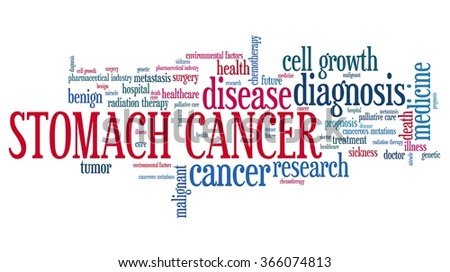 Stomach cancer word collage concept. Serious disease treatment.
