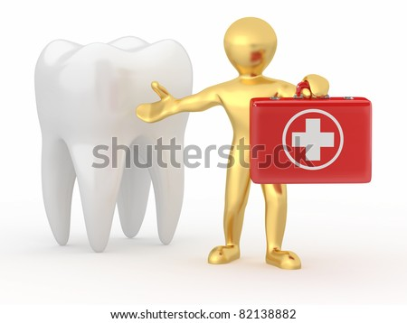 Stomatologist. Tooth and Men with medical kit. 3d - stock photo