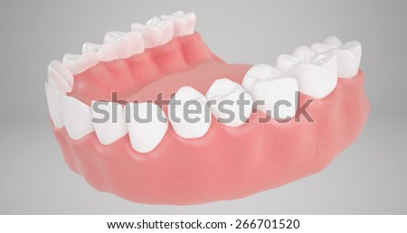 stomatology 3D teeth or tooth illustration, perspective view in mouth isolated