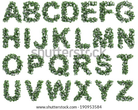 Stone alphabet covered with ivy - stock photo