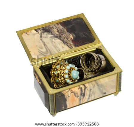 stone and metal box for jewelry storage