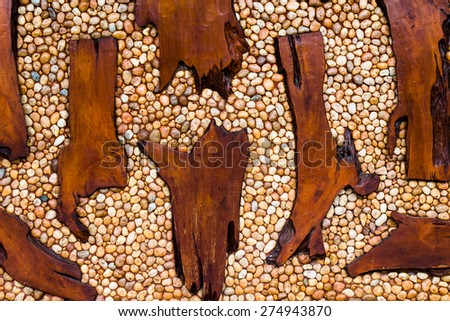 Stone and wood wall background texture - stock photo