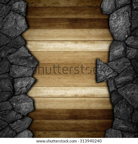 stone and wooden wall for background texture. - stock photo