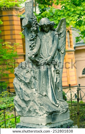 Stone Angel. The Russian Orthodox Chapel is a funerary chapel built in Weimar in 1860 for Grand Duchess Maria Pavlovna. - stock photo