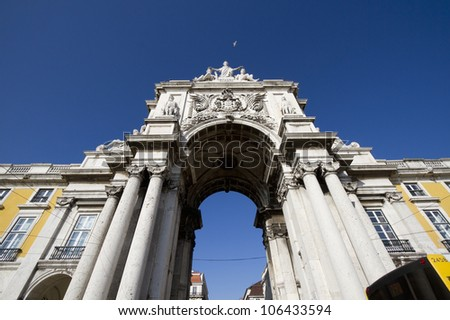 Stone arch at Terreiro do paco, Commerce square at Lisbon, Portugal - stock photo