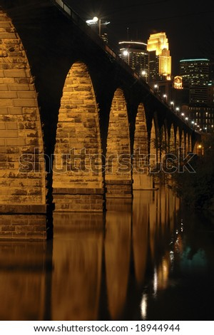 Stone Arch Bridge, Minneapolis, MN - stock photo