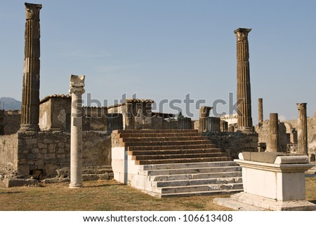 Stone Arches and Pillars in Pompeii, Italy - stock photo