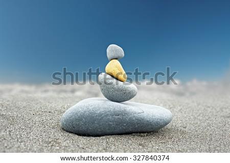 Stone art background of Buddhist rock tower  - stock photo