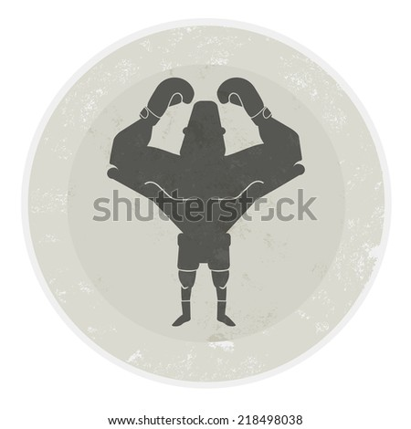 Stone athletic emblem with huge, bald,  heavyweight boxer - stock photo