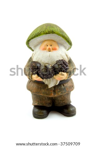 stone autumn statue doll of gnome isolated on white background - stock photo