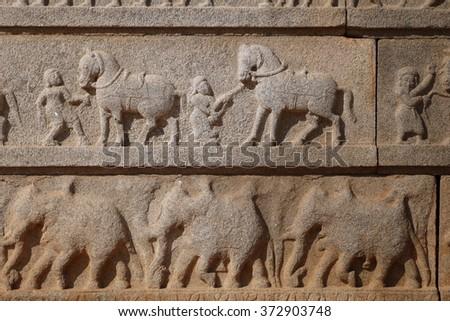 Stone bas-reliefs - stock photo